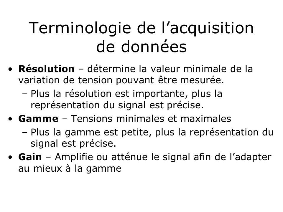 Terminologie de lacquisition de données Résolution – détermine la valeur minimale de la variation de tension pouvant être mesurée. –Plus la résolution