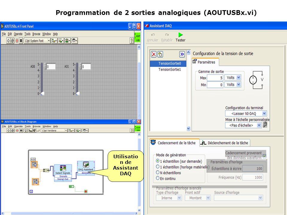 Programmation de 2 sorties analogiques (AOUTUSBx.vi) Utilisatio n de Assistant DAQ
