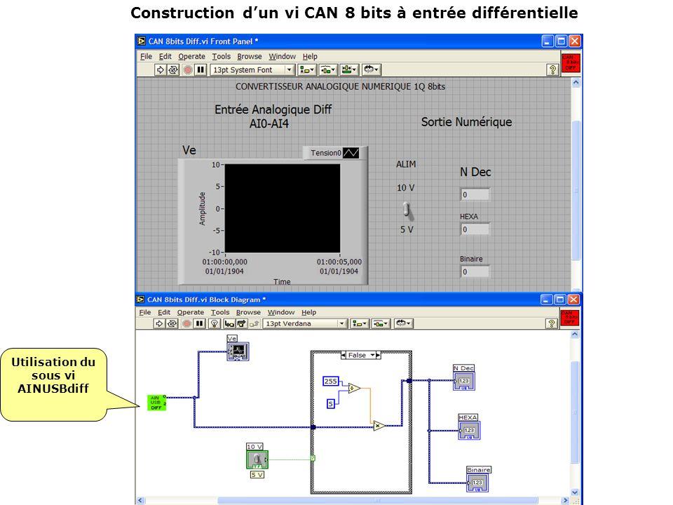 Construction dun vi CAN 8 bits à entrée différentielle Utilisation du sous vi AINUSBdiff