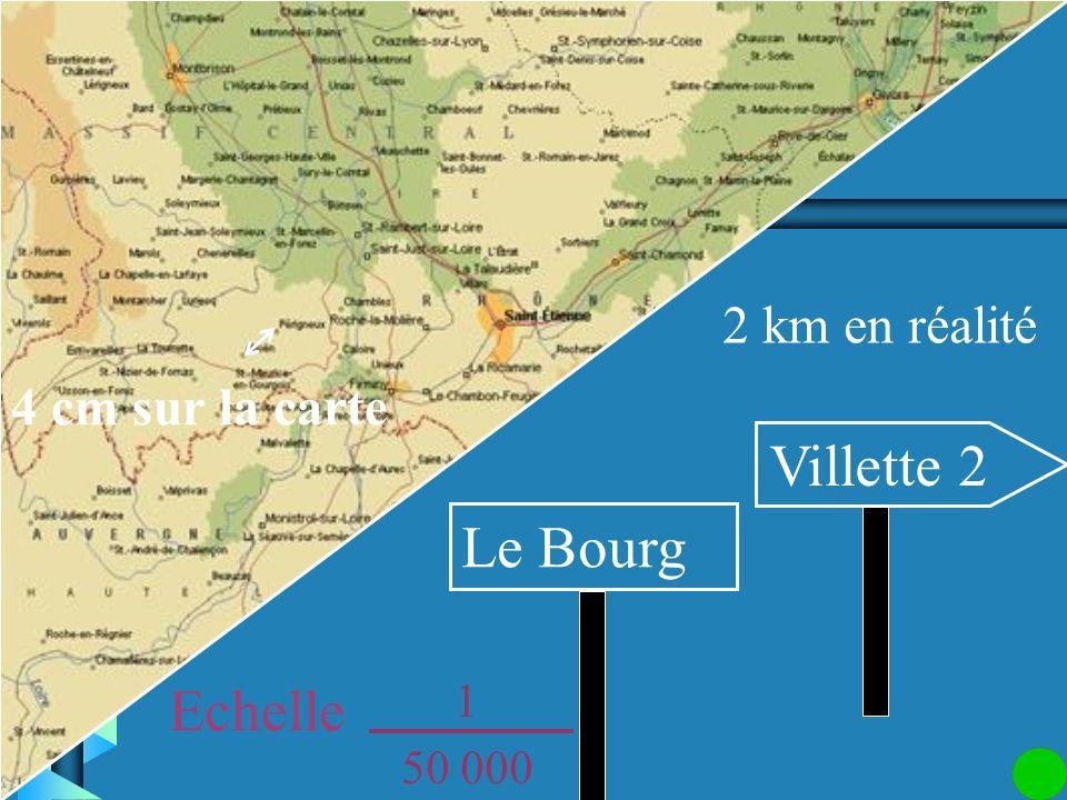 Attention aux unités ! 200 000 cm = 2 km Les deux villages sont distants de 2 km. 1 50 000 Quelle est la distance réelle entre deux villages séparés s