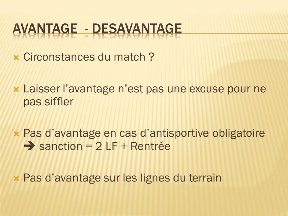 Circonstances du match .