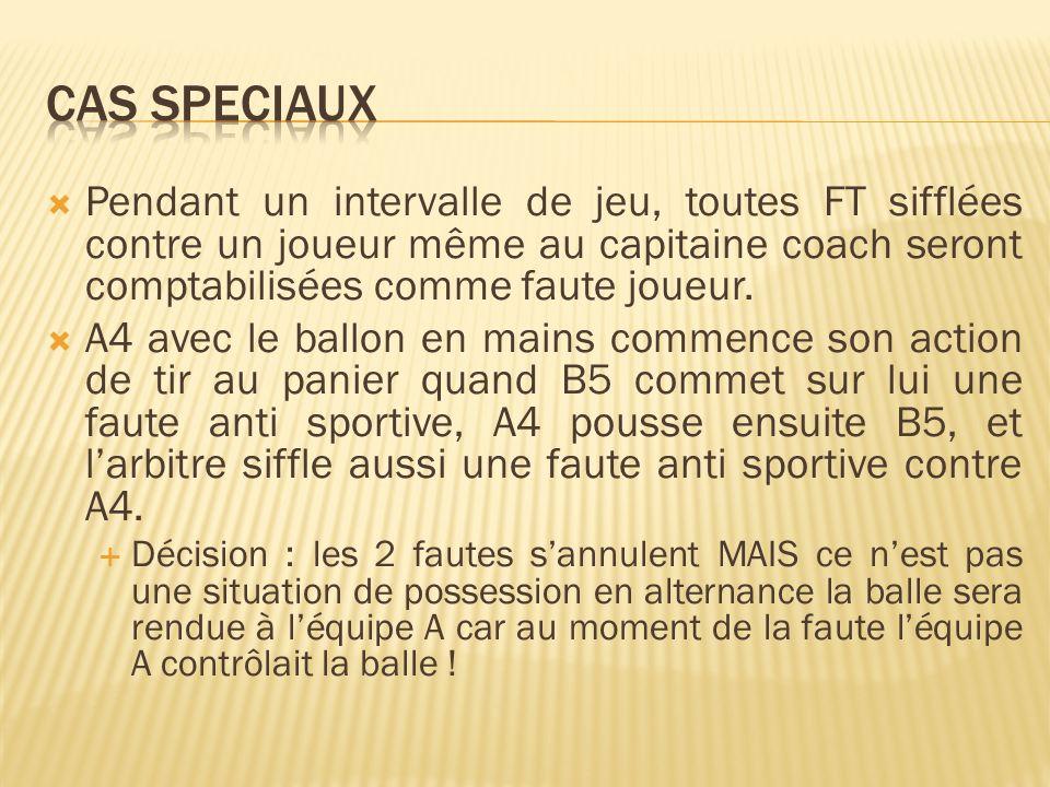 Pendant un intervalle de jeu, toutes FT sifflées contre un joueur même au capitaine coach seront comptabilisées comme faute joueur.