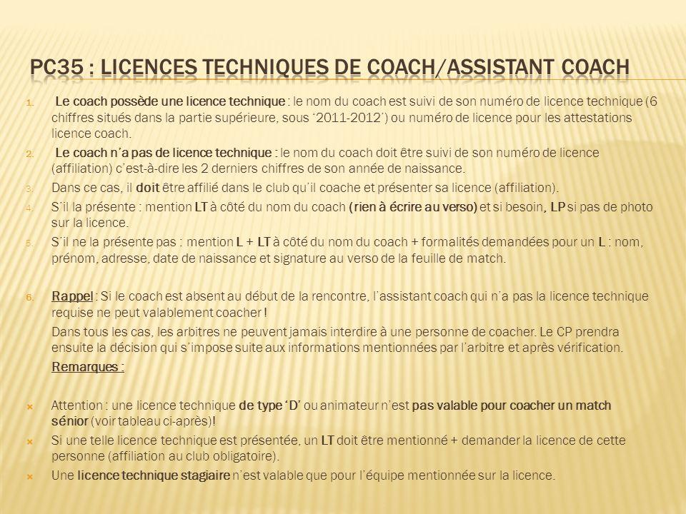 1. Le coach possède une licence technique : le nom du coach est suivi de son numéro de licence technique (6 chiffres situés dans la partie supérieure,