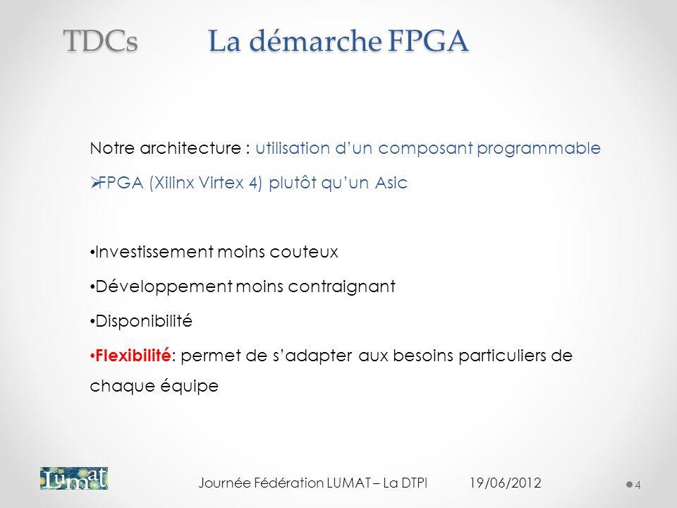 La démarche FPGA Notre architecture : utilisation dun composant programmable FPGA (Xilinx Virtex 4) plutôt quun Asic Investissement moins couteux Développement moins contraignant Disponibilité Flexibilité : permet de sadapter aux besoins particuliers de chaque équipe Journée Fédération LUMAT – La DTPI19/06/2012 4 TDCs