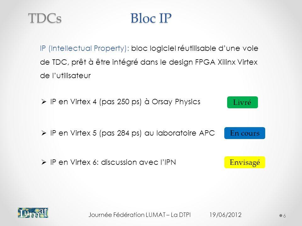 Bloc IP IP (Intellectual Property): bloc logiciel réutilisable dune voie de TDC, prêt à être intégré dans le design FPGA Xilinx Virtex de lutilisateur Journée Fédération LUMAT – La DTPI19/06/2012 6 TDCs IP en Virtex 5 (pas 284 ps) au laboratoire APC En cours Livré IP en Virtex 4 (pas 250 ps) à Orsay Physics IP en Virtex 6: discussion avec lIPN Envisagé
