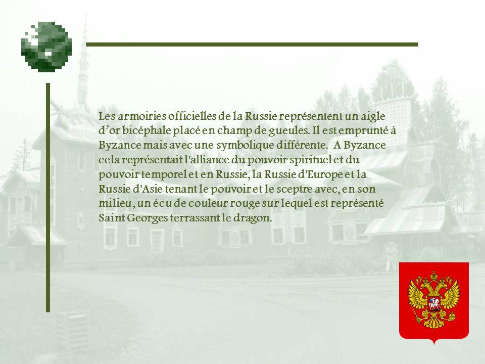Les armoiries officielles de la Russie représentent un aigle dor bicéphale placé en champ de gueules.