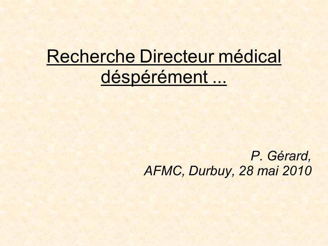 2009: recrutement dun directeur médical Recrutement par chasseur de têtes Comité de sélection Vote négatif du Conseil médical Direction médicale ad interim Nouveau recrutement en cours