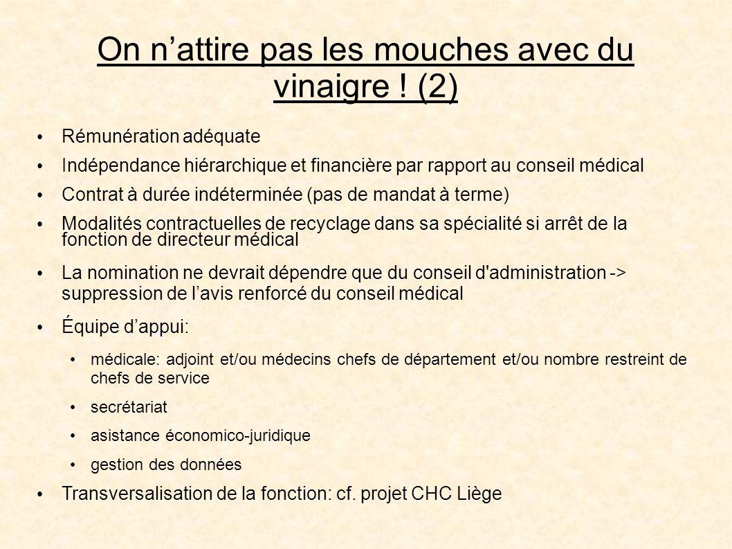 On nattire pas les mouches avec du vinaigre ! (2) Rémunération adéquate Indépendance hiérarchique et financière par rapport au conseil médical Contrat