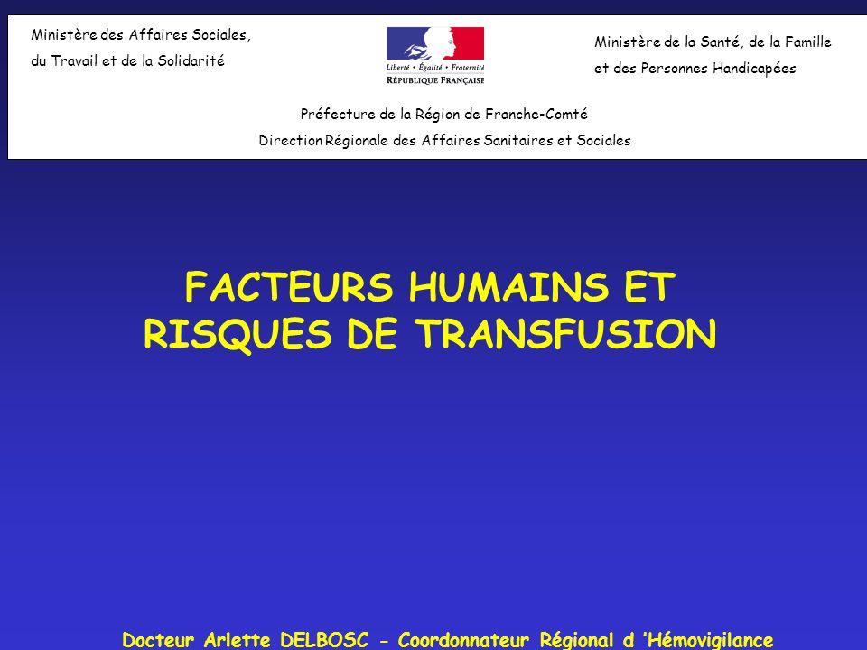 Facteurs Humains et Risques de la Transfusion Risques résiduels en transfusion en 2004 Infectieux: Virologique: VIH: 1/3 150 000: 1 cas attendu tous les 17ans VHC: 1/ 10M: 1 cas attendu tous les 20 ans VHB: 1/640 000 (?) = RISQUE MAITRISE Bactérien: 1/144 000 = RISQUE « BIENTÔT » MAITRISE