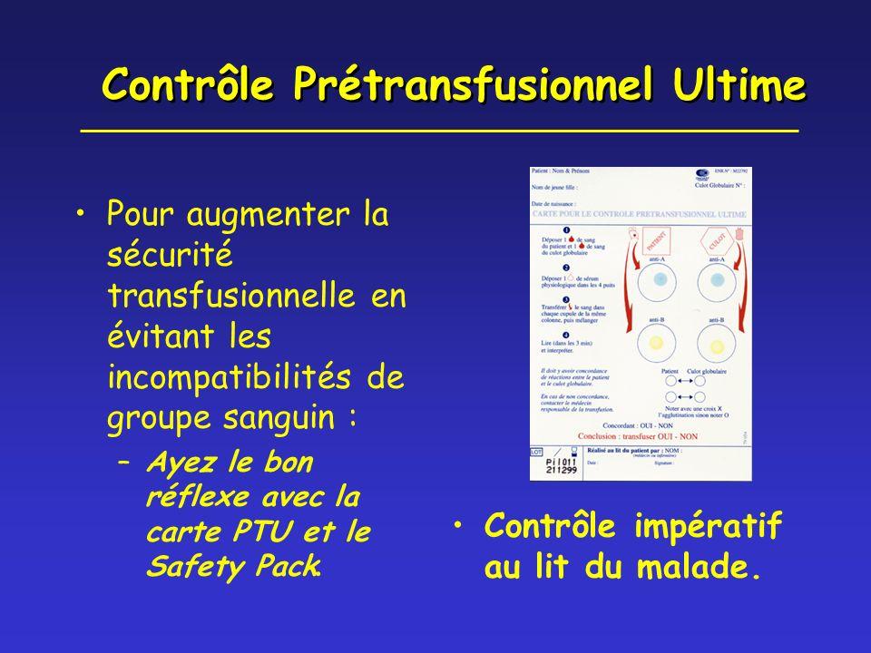 Contrôle Prétransfusionnel Ultime Pour augmenter la sécurité transfusionnelle en évitant les incompatibilités de groupe sanguin : –Ayez le bon réflexe