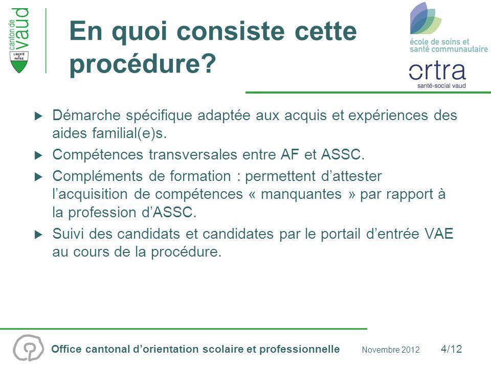 Office cantonal dorientation scolaire et professionnelle Novembre 2012 5/12 Conditions dadmission Posséder le CFC daide familiale.