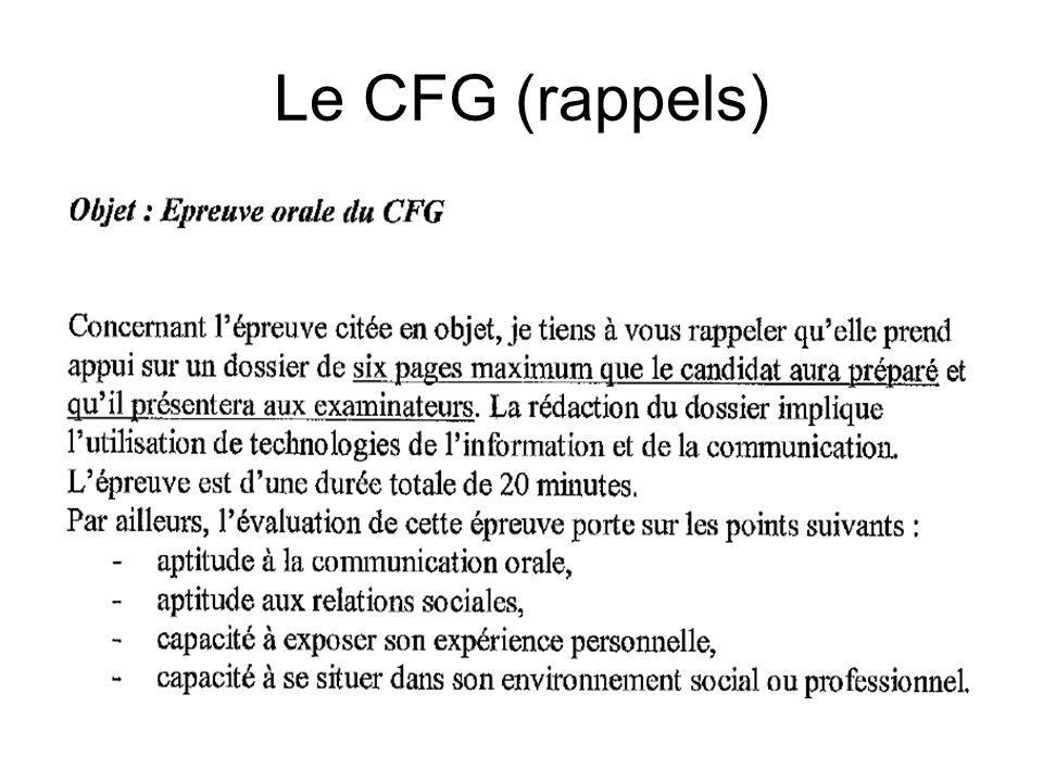 Le CFG (rappels)