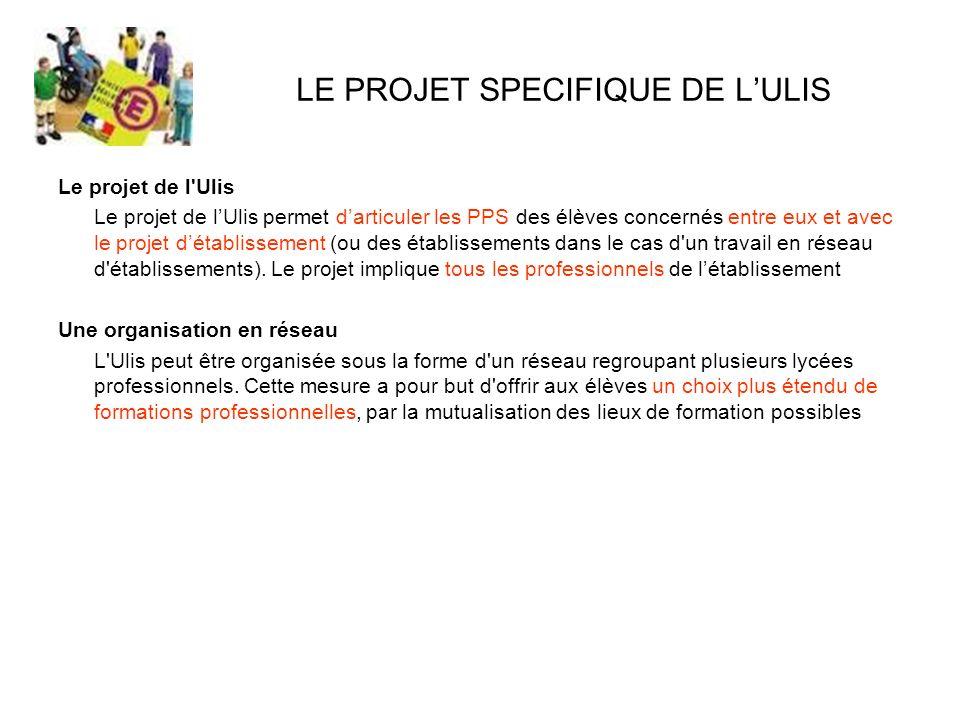 LE PROJET SPECIFIQUE DE LULIS Le projet de l'Ulis Le projet de lUlis permet darticuler les PPS des élèves concernés entre eux et avec le projet détabl