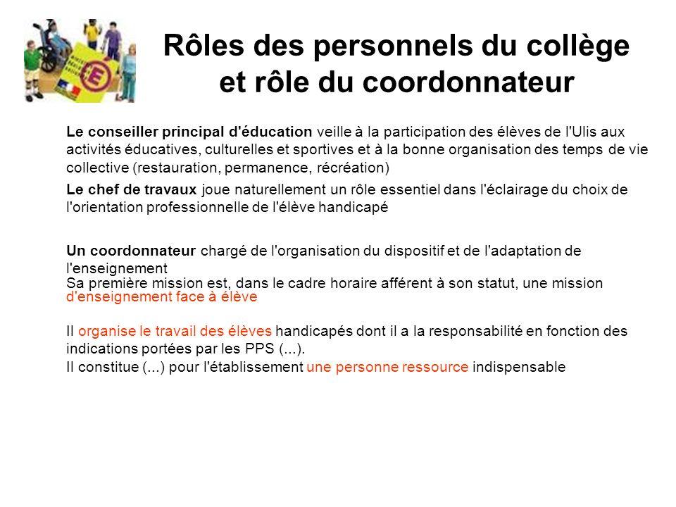 Rôles des personnels du collège et rôle du coordonnateur Le conseiller principal d'éducation veille à la participation des élèves de l'Ulis aux activi