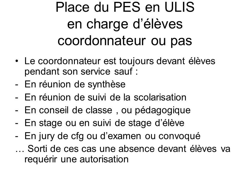 Place du PES en ULIS en charge délèves coordonnateur ou pas Le coordonnateur est toujours devant élèves pendant son service sauf : -En réunion de synt