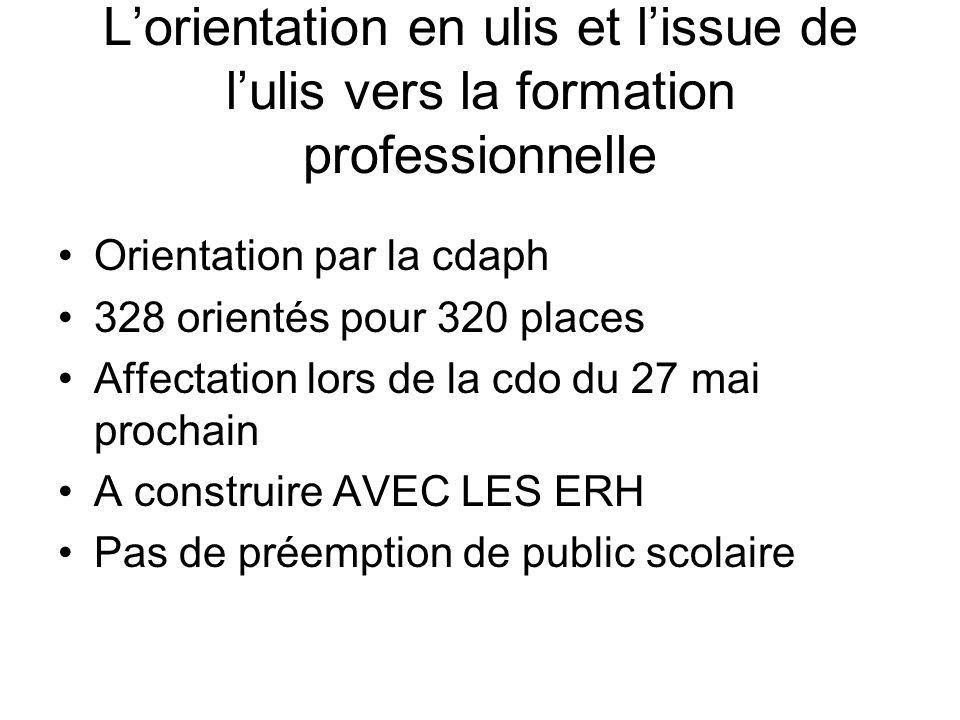 Lorientation en ulis et lissue de lulis vers la formation professionnelle Orientation par la cdaph 328 orientés pour 320 places Affectation lors de la