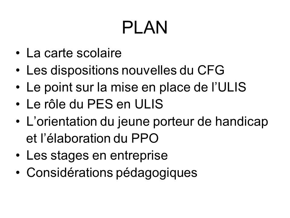 PLAN La carte scolaire Les dispositions nouvelles du CFG Le point sur la mise en place de lULIS Le rôle du PES en ULIS Lorientation du jeune porteur d