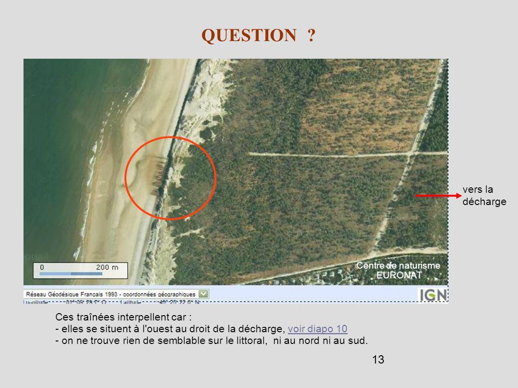 13 QUESTION ? Ces traînées interpellent car : - elles se situent à l'ouest au droit de la décharge, voir diapo 10voir diapo 10 - on ne trouve rien de