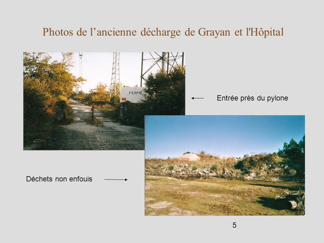 5 Photos de lancienne décharge de Grayan et l'Hôpital Entrée près du pylone Déchets non enfouis