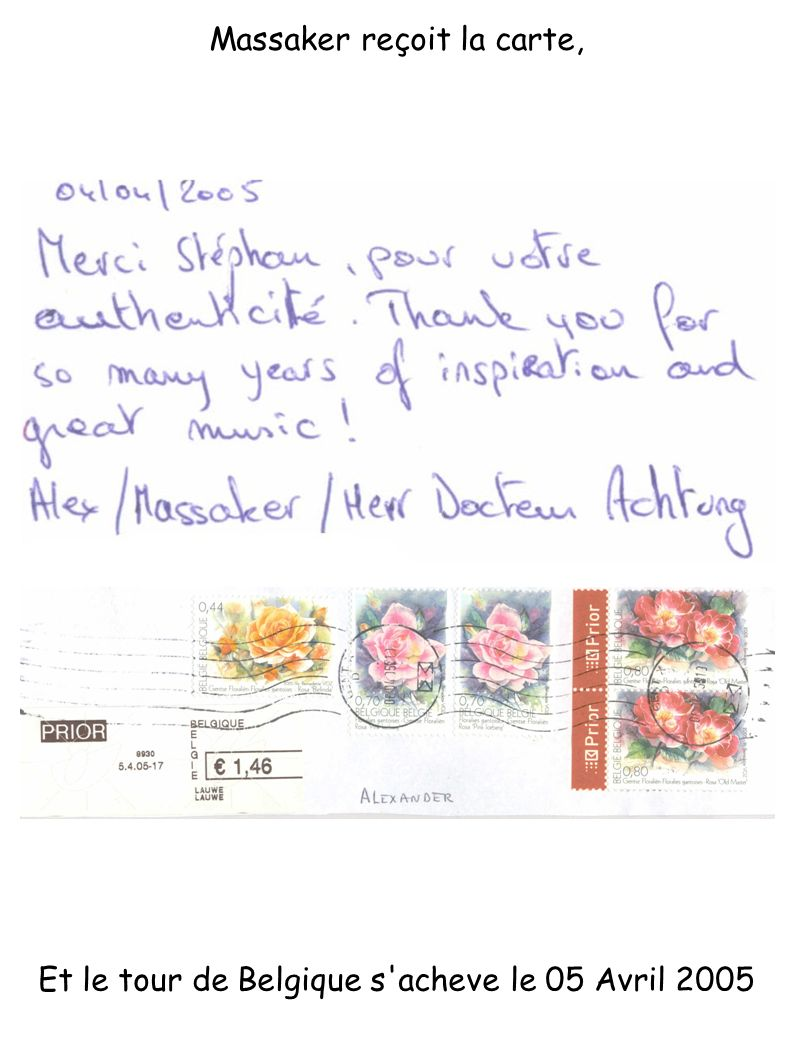 Massaker reçoit la carte, Et le tour de Belgique s'acheve le 05 Avril 2005