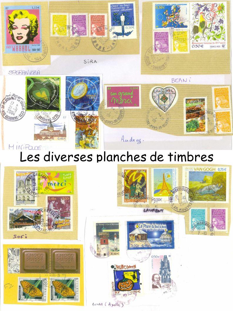 Les diverses planches de timbres