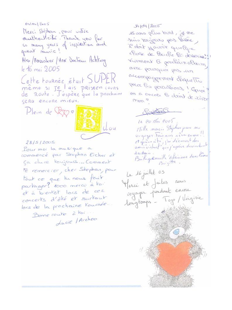 Et repart le 09 Mai 2005 De retour en France, la carte s arrete chez Christele