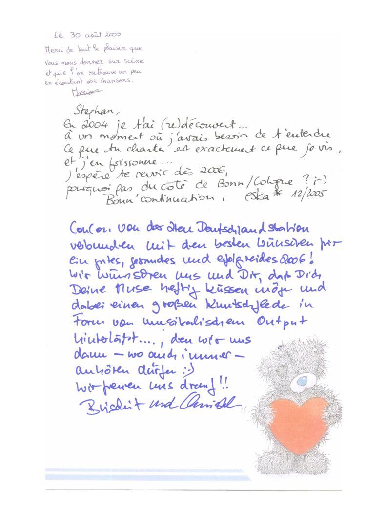 Qui fait suivre la carte le 17 mai 2005 Arrêt chez Bilou