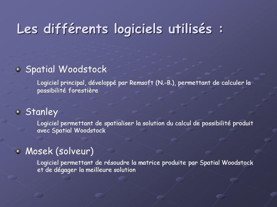 Les différents logiciels utilisés : Spatial Woodstock Logiciel principal, développé par Remsoft (N.-B.), permettant de calculer la possibilité foresti