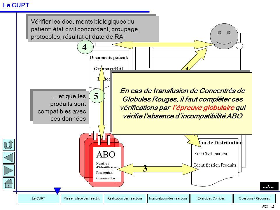 Interprétation des réactionsRéalisation des réactionsMise en place des réactifsExercices CorrigésLe CUPTQuestions / Réponses FCh –v2 Etat Civil patien