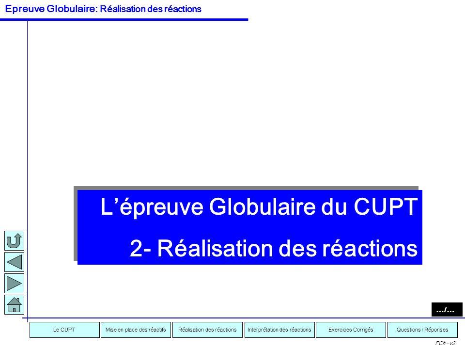 Interprétation des réactionsRéalisation des réactionsMise en place des réactifsExercices CorrigésLe CUPTQuestions / Réponses FCh –v2 Voici ce que vous