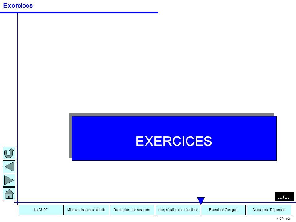 Interprétation des réactionsRéalisation des réactionsMise en place des réactifsExercices CorrigésLe CUPTQuestions / Réponses FCh –v2 = INCOMPATIBLE =