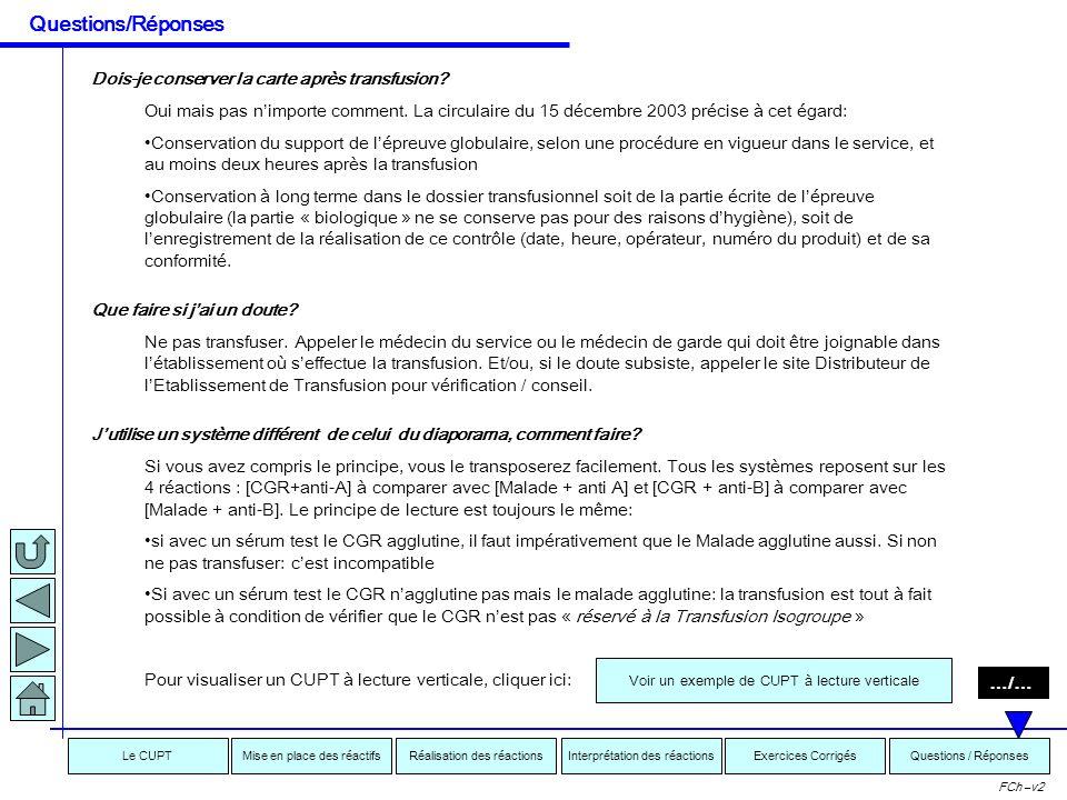 Interprétation des réactionsRéalisation des réactionsMise en place des réactifsExercices CorrigésLe CUPTQuestions / Réponses FCh –v2 Quelle contrainte