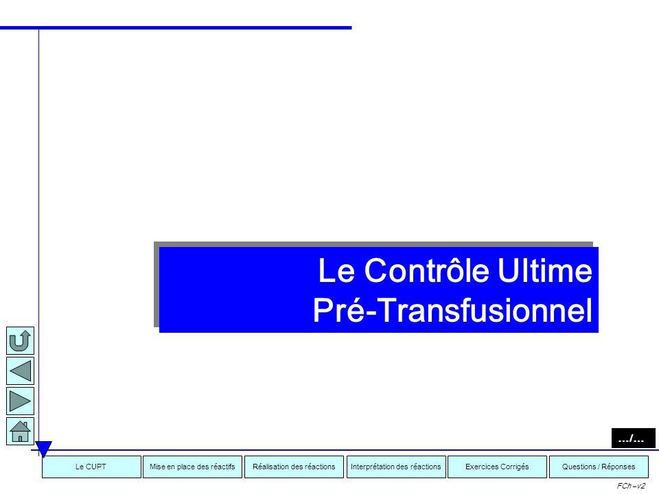 Interprétation des réactionsRéalisation des réactionsMise en place des réactifsExercices CorrigésLe CUPTQuestions / Réponses FCh –v2 Avertissement: Pl