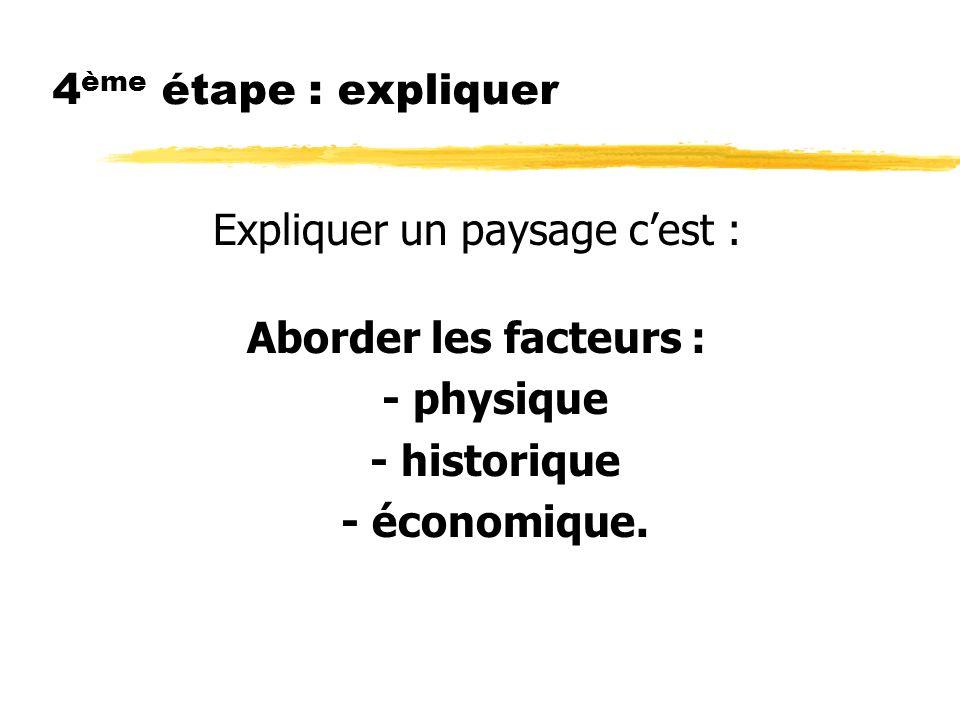 4 ème étape : expliquer Expliquer un paysage cest : Aborder les facteurs : - physique - historique - économique.