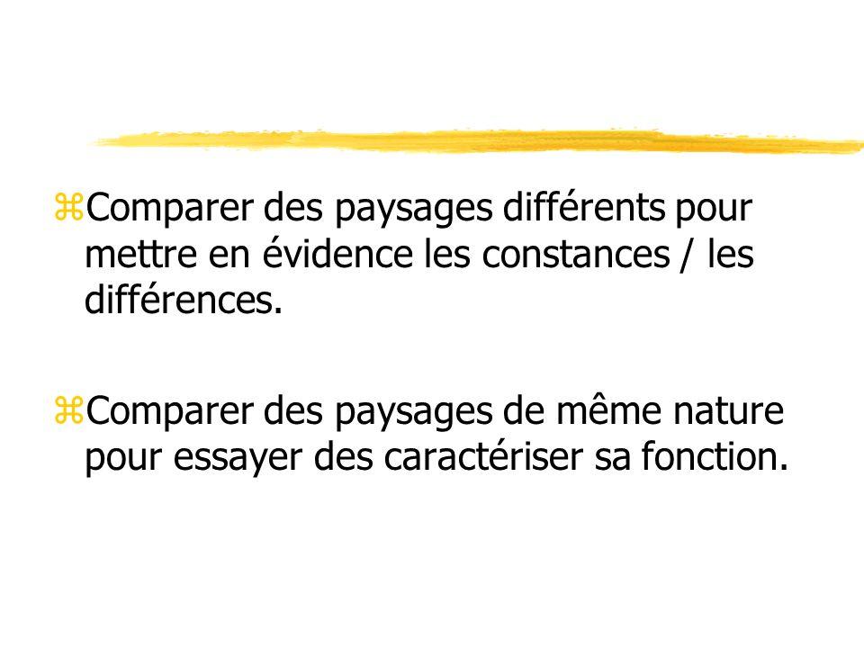 zComparer des paysages différents pour mettre en évidence les constances / les différences.