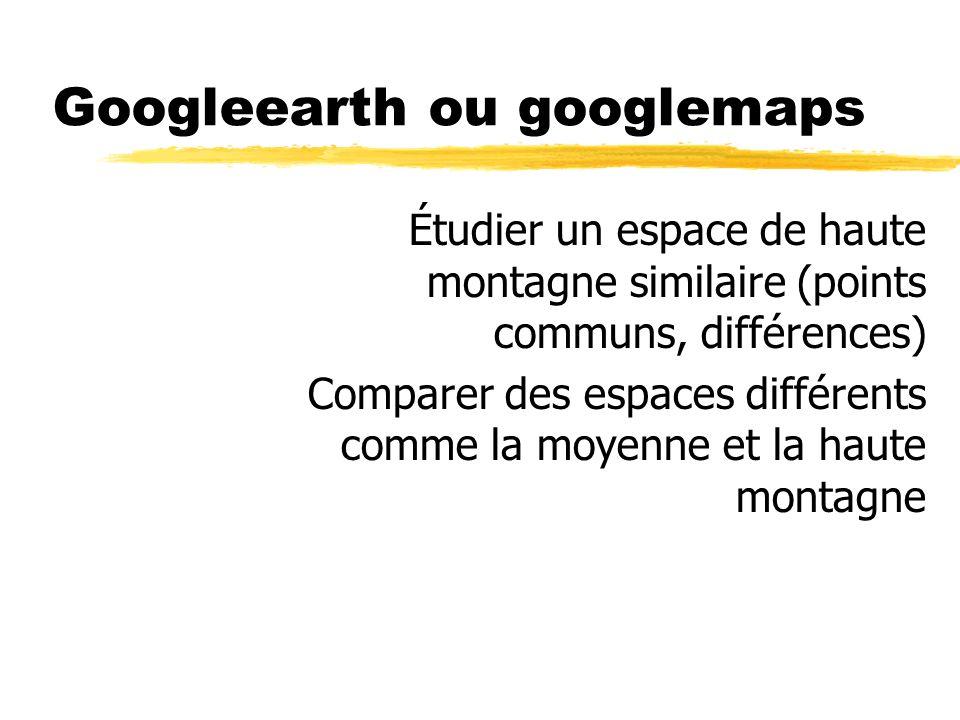 Googleearth ou googlemaps Étudier un espace de haute montagne similaire (points communs, différences) Comparer des espaces différents comme la moyenne et la haute montagne