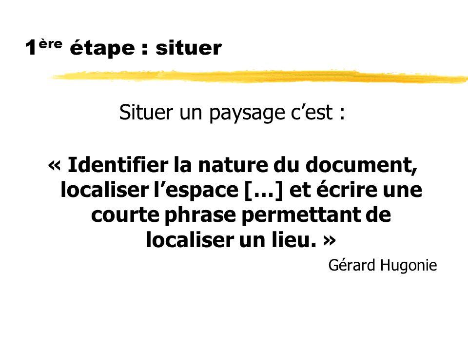 1 ère étape : situer Situer un paysage cest : « Identifier la nature du document, localiser lespace […] et écrire une courte phrase permettant de localiser un lieu.