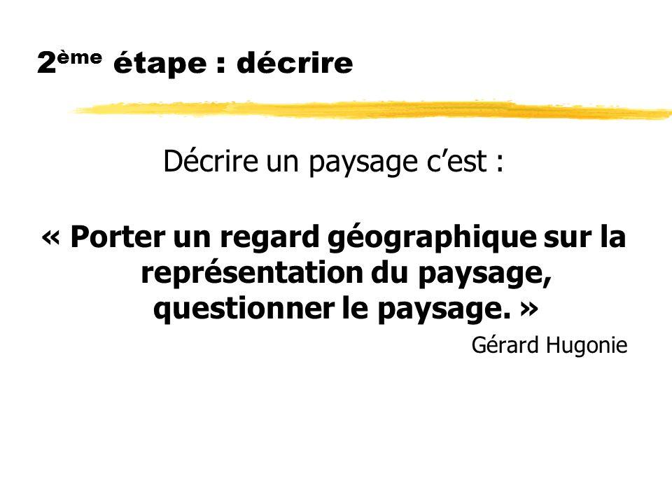 2 ème étape : décrire Décrire un paysage cest : « Porter un regard géographique sur la représentation du paysage, questionner le paysage.