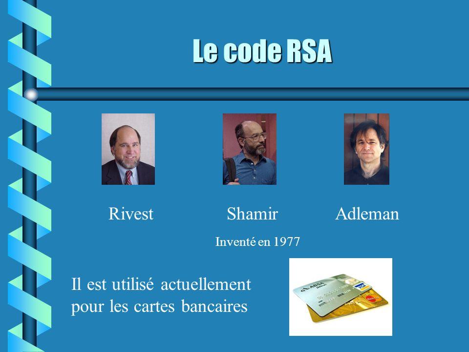 Le code RSA RivestShamirAdleman Inventé en 1977 Il est utilisé actuellement pour les cartes bancaires
