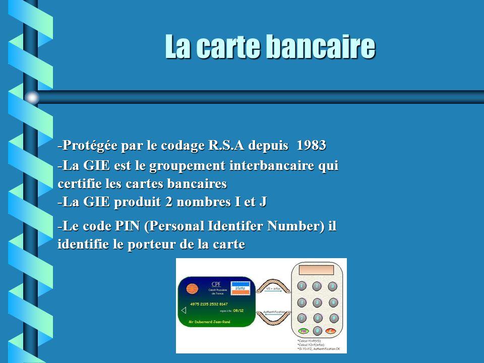 La carte bancaire -Le code PIN (Personal Identifer Number) il identifie le porteur de la carte -Protégée par le codage R.S.A depuis 1983 -La GIE est l