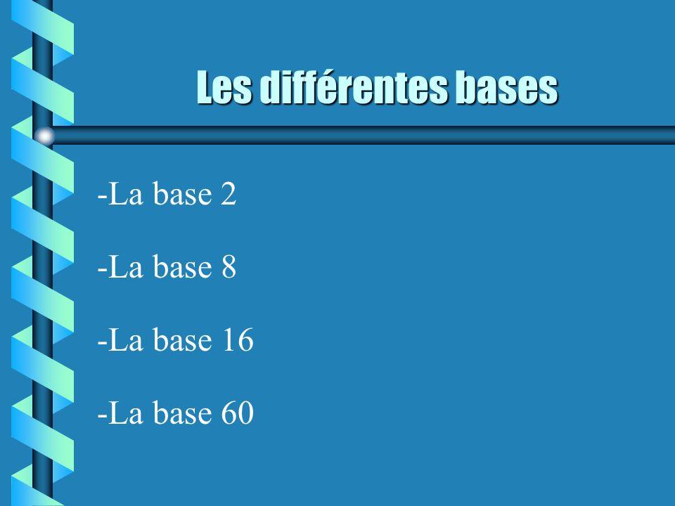 Les différentes bases -La base 2 -La base 8 -La base 60 -La base 16