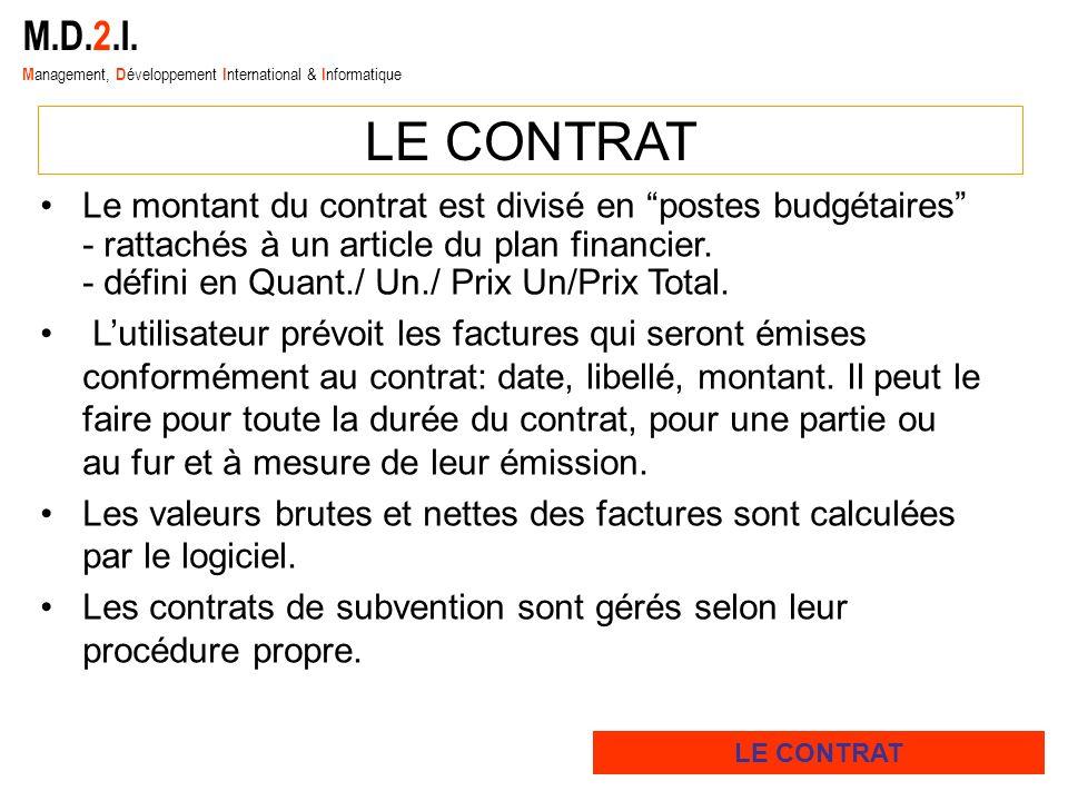 M.D.2.I. M anagement, D éveloppement I nternational & I nformatique LE CONTRAT Le montant du contrat est divisé en postes budgétaires - rattachés à un