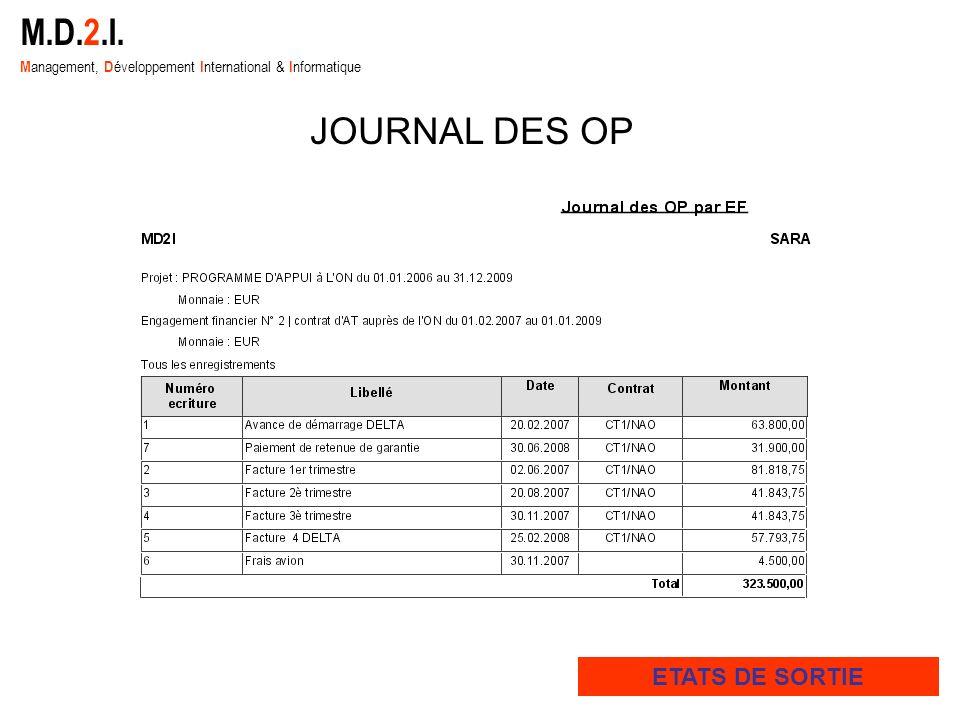 M.D.2.I. M anagement, D éveloppement I nternational & I nformatique ETATS DE SORTIE JOURNAL DES OP