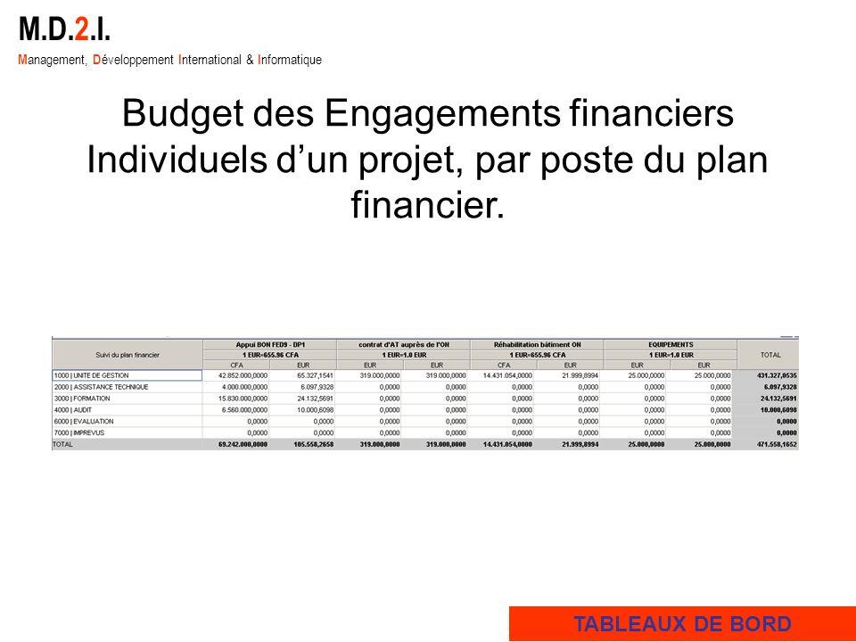 M.D.2.I. M anagement, D éveloppement I nternational & I nformatique Budget des Engagements financiers Individuels dun projet, par poste du plan financ