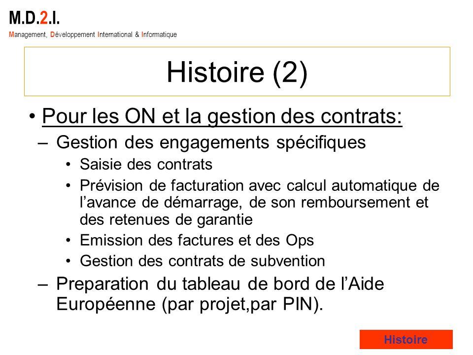 M.D.2.I. M anagement, D éveloppement I nternational & I nformatique Histoire (2) Pour les ON et la gestion des contrats: –Gestion des engagements spéc