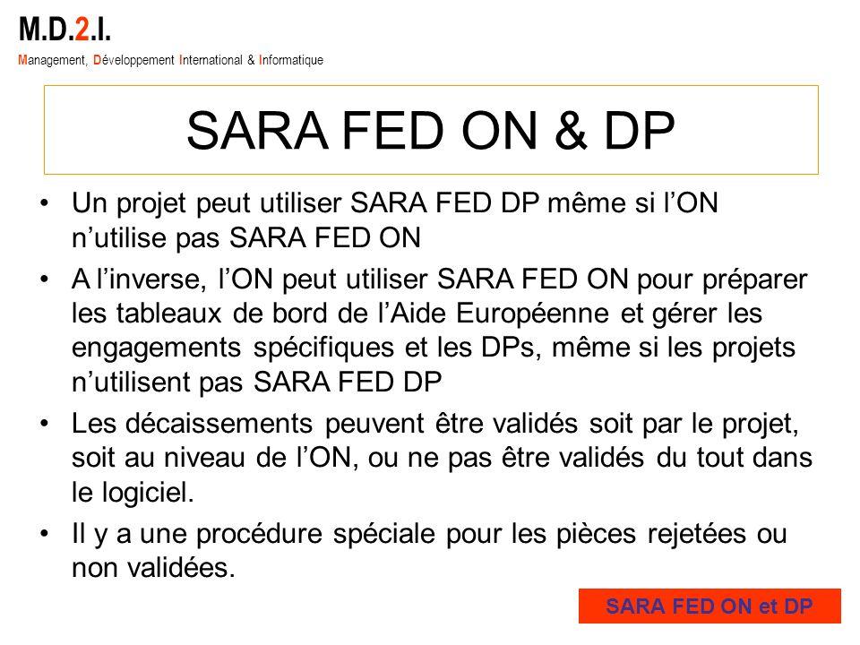 M.D.2.I. M anagement, D éveloppement I nternational & I nformatique SARA FED ON & DP Un projet peut utiliser SARA FED DP même si lON nutilise pas SARA