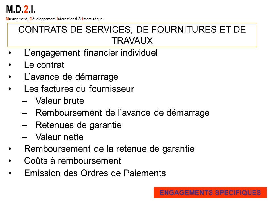 Lengagement financier individuel Le contrat Lavance de démarrage Les factures du fournisseur –Valeur brute –Remboursement de lavance de démarrage –Ret