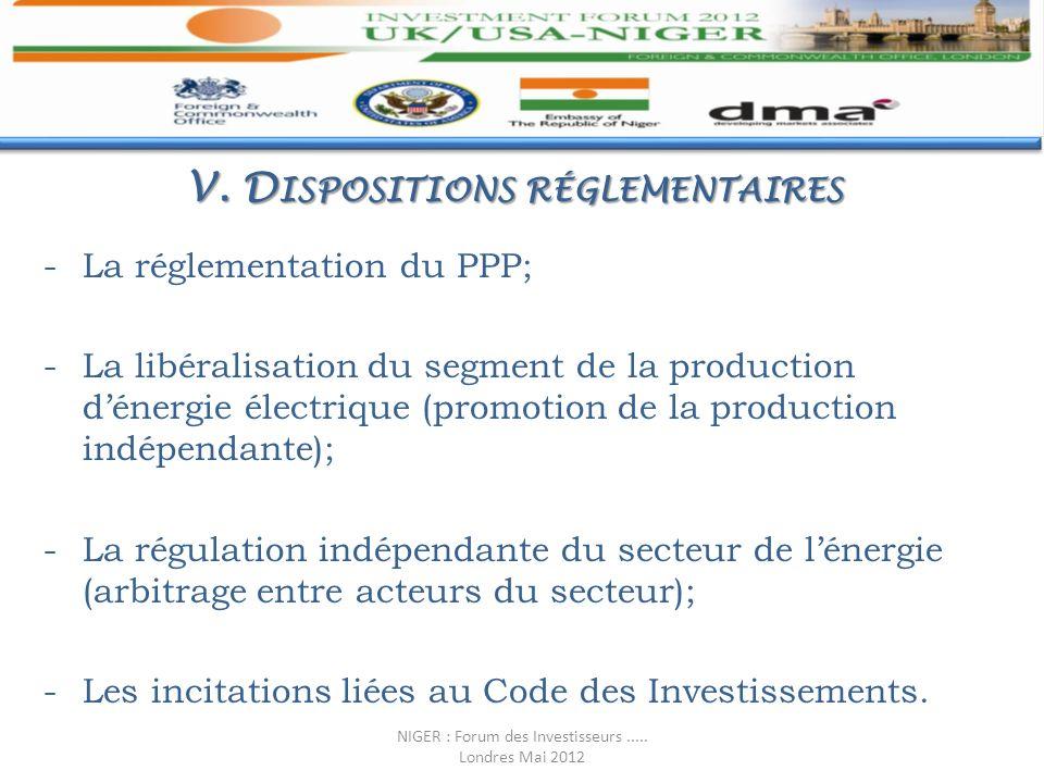 V. D ISPOSITIONS RÉGLEMENTAIRES -La réglementation du PPP; -La libéralisation du segment de la production dénergie électrique (promotion de la product