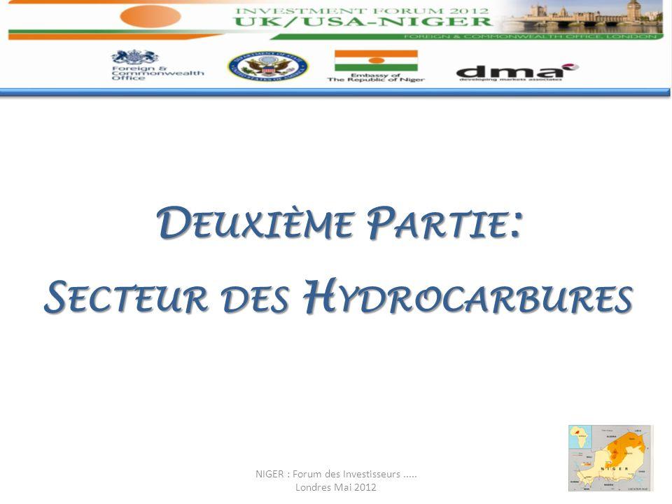 D EUXIÈME P ARTIE : S ECTEUR DES H YDROCARBURES NIGER : Forum des Investisseurs..... Londres Mai 2012