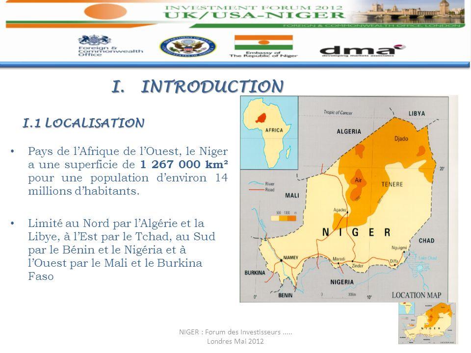 I.INTRODUCTION Pays de lAfrique de lOuest, le Niger a une superficie de 1 267 000 km² pour une population denviron 14 millions dhabitants. Limité au N